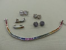 A SILVER AND RAINBOW MULTI CZ BRACELET AND EARRING SET TOGETHER WITH THREE FURTHER PAIRS OF SILVER
