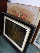 A VICTORIAN NEEDLEWORK PICTURE,AND A LARGE QUANTITY OF DECORATIVE FRAMED PRINTS.