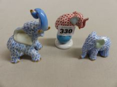 A HERREND ELEPHANT ON BALL FIGURE AND TWO OTHERS SIMILAR.