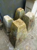 FOUR STADDLE STONE BASES.