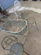 VARIOUS WROUGHT IRON PATIO FURNITURE AND A VINTAGE WROUGHT IRON CRADLE.