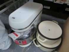 A MORPHY RICHARDS FOOD MIXER, A JUICER AND TWO IRON PANS.