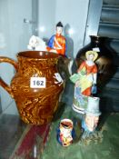 A WELLINGTON FLAT BACK FIGURINE AND VARIOUS CHINA WARES.