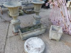 A PAIR OF GARDEN URNS WITH PLINTHS, PLANTERS ETC.