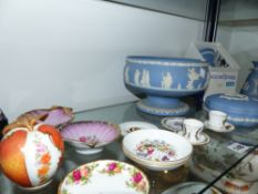 WEDGEWOOD JASPER WARES, VARIOUS PIN TRAYS, A ROYAL WORCESTER DECORTED APPLE.