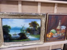 A REVERSE GLASS PAINTING AND AN OIL PAINTING.