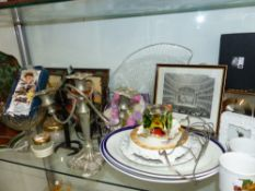 A QUANTITY OF ORNAMENTAL CHINA, GLASS, PICTURE FRAMES ETC.