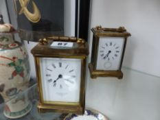TWO VINTAGE CARRIAGE CLOCKS.