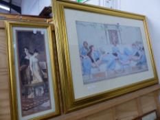 TWO GILT FRAMED DECORATIVE CLASSICAL PRINTS.