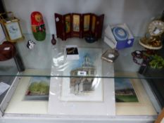THREE WATER COLOURS BY KEN MESSER TOGETHER WITH A SILVER POCKET FLASK, A COSTUME BROOCH, ORNAMENTS