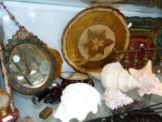 FOUR LARGE SEA SHELLS, TWO ANTIQUE FACE SCREENS, A BARBOLA MIRROR, TRAYS ETC.