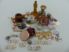 A SILVER BANGLE AND ID BRACLELET TOGETHER WITH COSTUME JEWELLERY AND COLLECTABLES.