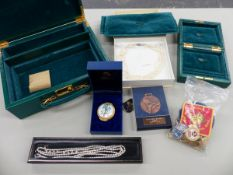 A GREEN LEATHER JEWELLERY CASE, A HALCYON DAYS ENAMEL BOX, VARIOUS BADGE AND MEDALS, A GOLD AND