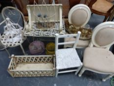 FOUR VARIOUS CHILDS CHAIRS, ORNAMENTAL WALL BRACKETS ETC.
