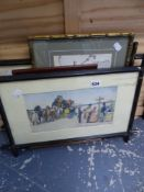 A PAIR OF PRINTS AFTER CECIL ALDIN, AND THREE OTHERS.