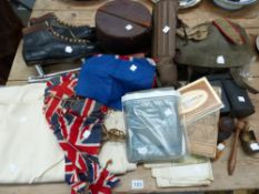 A GROUP OF VINTAGE MILITARY EQUIPMENT, ICE SKATES, BUNTING, MAPS,A STAMP ALBUM ETC.