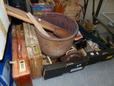 A BOX OF VINTAGE CAMERAS. TWO WOODEN BRIEF CASES, KITCHENALIA, BRASSWARES ETC.