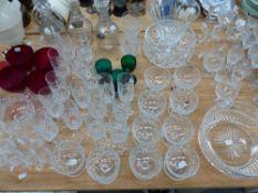 THREE 19TH C. DECANTERS, PART SUITE OF CUT GLASSWARE, COLOURED GLASSES, FRUIT BOWLS ETC.
