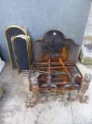 TWO CAST IRON FIRE BASKETS, A FIRE BACK, DOGGS, IMPLEMENTS, SPARK GUARDS ETC.