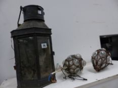 A COPPER CARRIAGE LANTERN AND TWO CEILING LIGHTS.