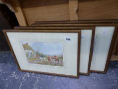 A SET OF FOUR WATERCOLOUR HUNT SCENES BY A.D.BELL.