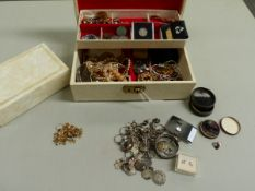 TWO JEWELLERY CASES CONTAINING GOLD, SILVER AND COSTUME JEWELLERY, A VINTAGE ORIS WATCH HEAD ETC.