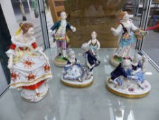 SIX VARIOUS DRESDEN AND OTHER PORCELAIN FIGURINES.