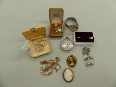A QUANTITY OF 9CT GOLD, GROSS WEIGHT 13.1grms, A SIRO SENIOR POCKET WATCH, A VINTAGE ROTARY GENTS
