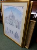 A PAIR OF LARGE ARCHITECTURAL PRINTS AND TWO OTHERS.
