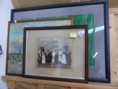 A PHOTOGRAPH OF THE LICORISH FAMILY OF BANBURY, AND TWO PRINTS.