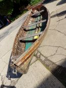CLINKER BUILT EDWARDIAN BOATING LAKE ROWING BOAT /SKIFF WITH HIGH BACK SEAT. COMPLETE WITH ROW LOCKS