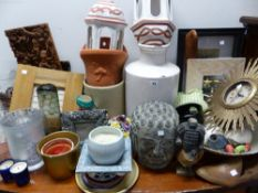 VARIOUS GLASS VASES, ORNAMENTAL CHINA WARES, WALL CLOCK ETC.