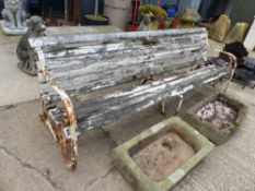 A LARGE ANTIQUE GARDEN BENCH.