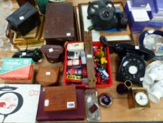 A VINTAGE TELEPHONE, GAS MASK, WEDGEWOOD BOXED CHINA WARES, DIE CAST TOYS, TWO CAMERAS, BOOKS,