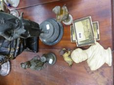 TWO SPELTER FIGURINES, A SPELTER ART NOUVEAU BUST, A PLASTER BUST OF A MOOR, ETC.