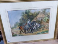 A WATERCOLOUR, FARMER ON HORSEBACK SIGNED INDISTINCTLY.