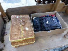 HAIR SLIDES, A HANDBAG, AND A SEWING BOX.
