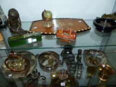A WOODBINE DOMINOS SET, AN EASTERN INLAID TRAY, ORNAMENTS, PLATED WARE ETC. (2 SHELVES)