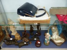 VINTAGE CHRISTENING GOWNS, HANDBAGS , AND A GROUP OF RELIGIOUS AND OTHER FIGURES.