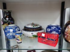 A CLOISONNE ROUND BOX AND COVER AND VARIOUS ORIENTAL VASES.