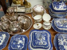 BLUE AND WHITE TUREENS, A ROYAL DOULTON BROADLANDS PATTERN PART TEA SERVICE AND VARIOUS PLATED