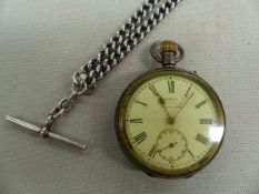 A 935 SILVER KAYS ADVANCE SWISS SILVER POCKET WATCH AND SILVER HALLMARKED DOUBLE ALBERT CURB WATCH