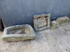 TWO STONE SINKS AND TWO WALL TOPPERS.