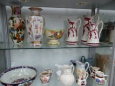 A LARGE JAPANESE IMARI DECORATED BOWL, TWO ORIENTAL STYLE VASES, A TRIO AND VARIOUS OTHER VICTRORIAN