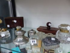 A COLLECTION OF SMALL INKWELLS ETC.