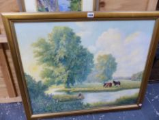LARGE OIL PAINTING OF A FISHERMAN SIGNED ROGER GEARY, AND TWO OTHERS.