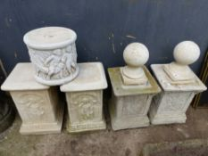 TWO PAIRS OF DECORATIVE CONCRETE PLINTHS, A PAIR OF TOPPERS ETC.