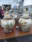 A PAIR OF ORIENTAL STYLE TABLE LAMPS, AND THREE OTHERS.