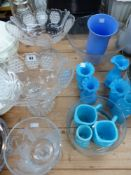 A PAIR OF CUTGLASS LARGE BONBON DISHES, VICTORIAN BLUE GLASS JUGS AND VASES, ETC.