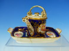 A GRAINGERS WORCESTER MINIATURE WATERING CAN AND COVER, A MINIATURE TWO HANDLED RECTANGULAR DISH